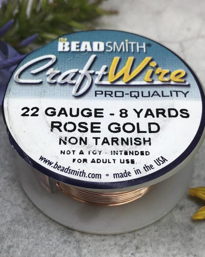 CRAFT WIRE 22GA ROUND 8YD ROSE GOLD