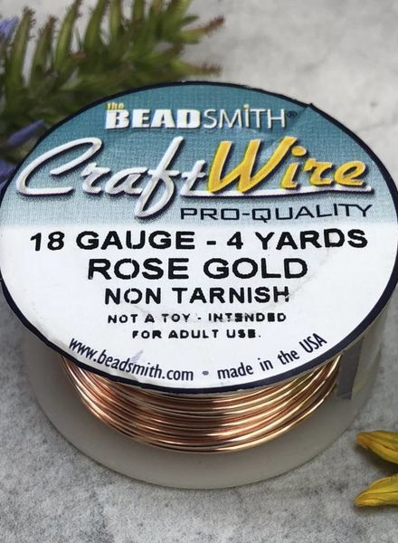 CRAFT WIRE 18GA ROUND 4YD ROSE GOLD