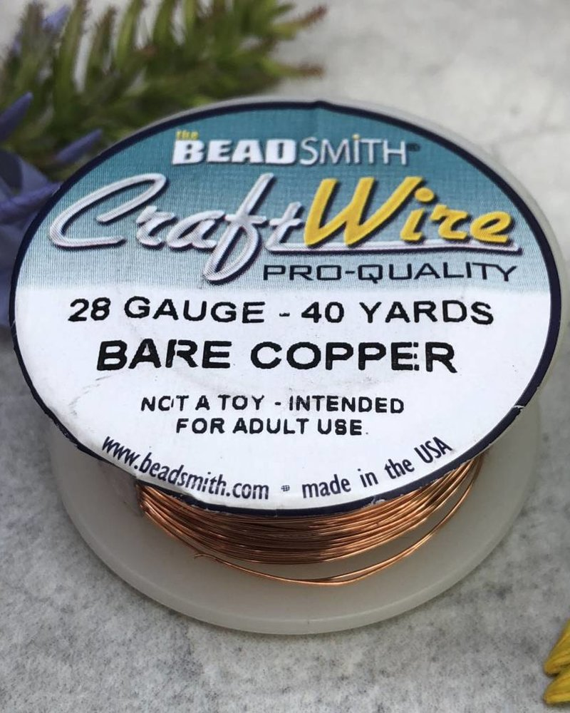 CRAFT WIRE 28GA ROUND 40YD NATURAL COPPER