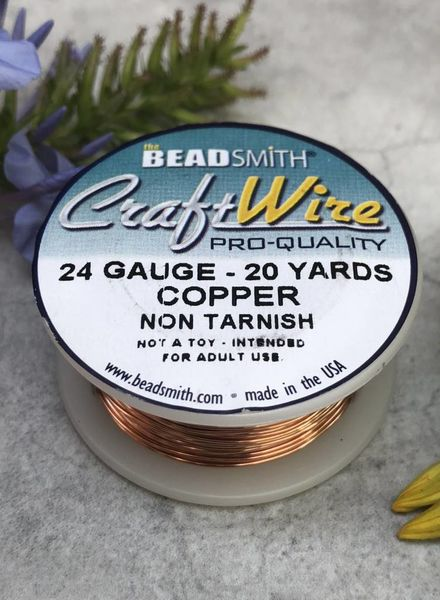 CRAFT WIRE 24GA ROUND 20YD NATURAL COPPER