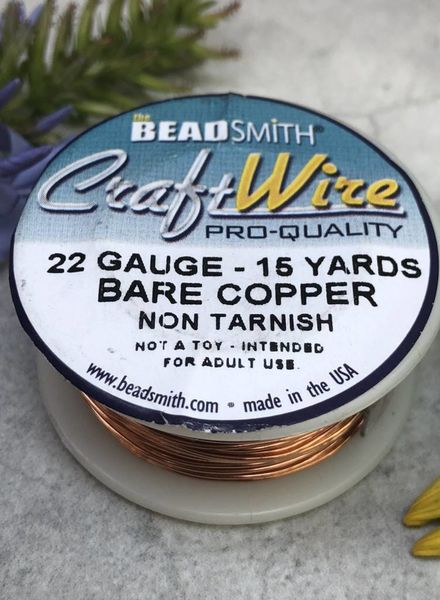 CRAFT WIRE 22GA ROUND 15YD NATURAL COPPER
