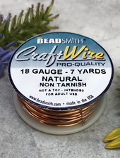 CRAFT WIRE 18GA ROUND 7YD NATURAL COPPER