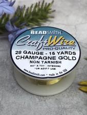 CRAFT WIRE 28GA ROUND 15FT CHAMPAGNE GOLD