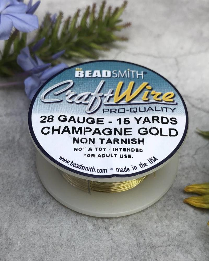 CRAFT WIRE 28GA ROUND 15FT CHAMPAGNE GOLD