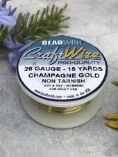 CRAFT WIRE 26GA ROUND 15FT CHAMPAGNE GOLD