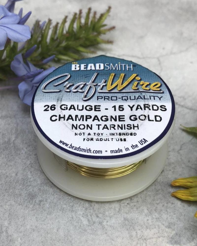 CRAFT WIRE 26GA ROUND 15FT CHAMPAGNE GOLD