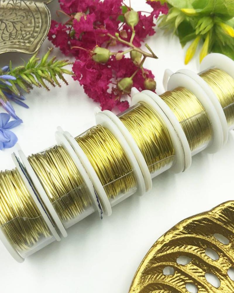 CRAFT WIRE 26GA ROUND 15YD CHAMPAGNE GOLD