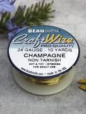 CRAFT WIRE 24GA ROUND 10YD CHAMPAGNE GOLD