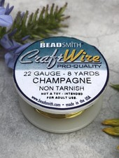 CRAFT WIRE 22GA ROUND 8YD CHAMPAGNE GOLD