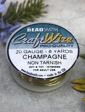 CRAFT WIRE 20GA ROUND 6YD CHAMPAGNE GOLD