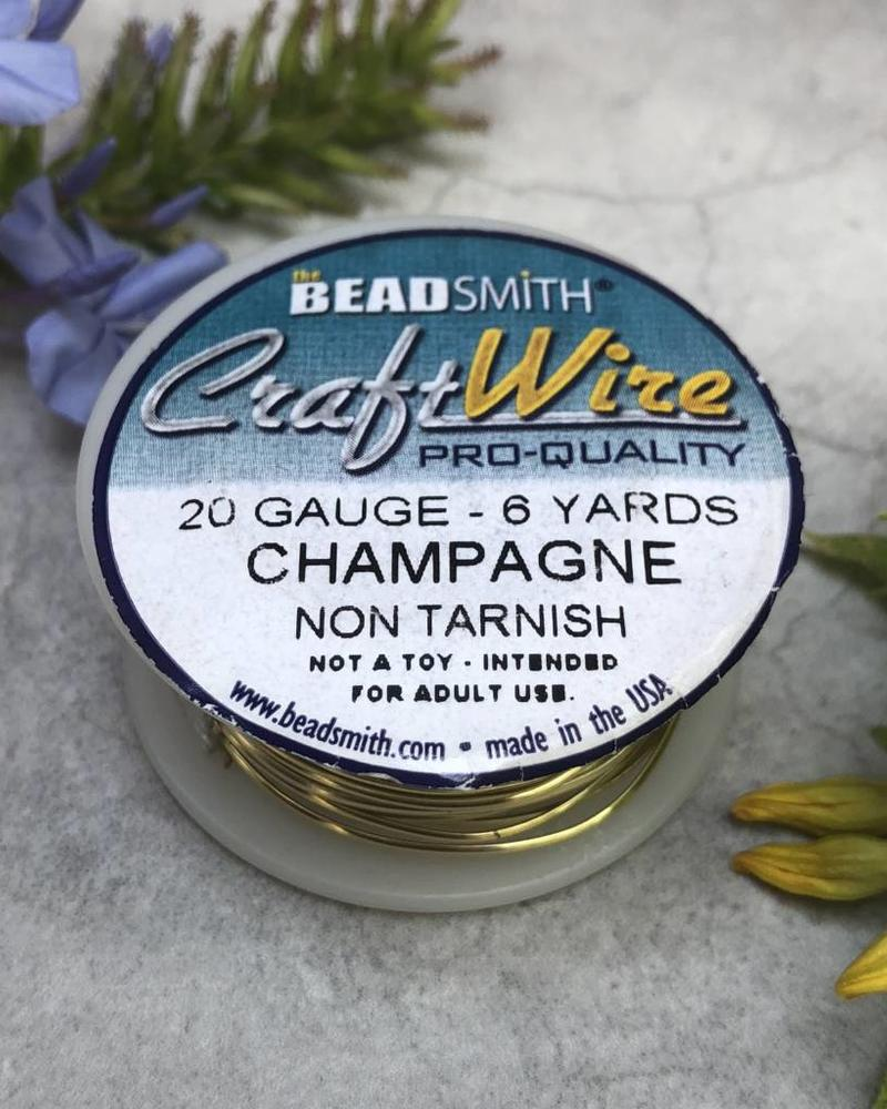 CRAFT WIRE 20GA ROUND 6YD CHAMPAGNE GOLD