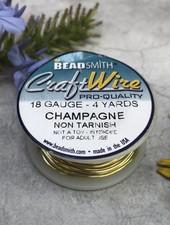 CRAFT WIRE 18GA ROUND 4YD CHAMPAGNE GOLD