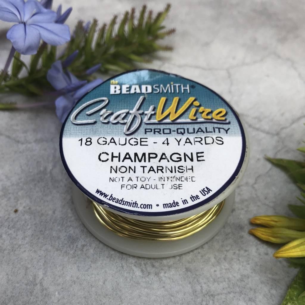 18GA Beadsmith Champagne Gold Color Non Tarnish  Wire 4 Yards