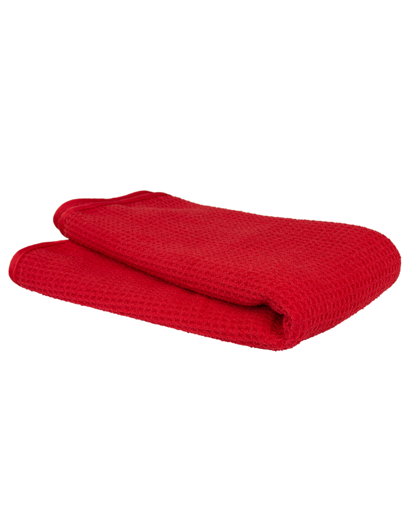 Chemical Guys Glass And Window Waffle Weave Streak Free Towel, Red 24'' X 16''