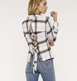 Heartloom Luka Plaid Tie Back Top  Ivory