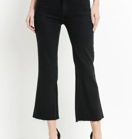 Just Black Denim Crop Flare Scissor Cut Denim