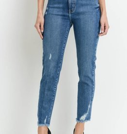 Just Black Denim HR Straight w Distressed Hem Blue