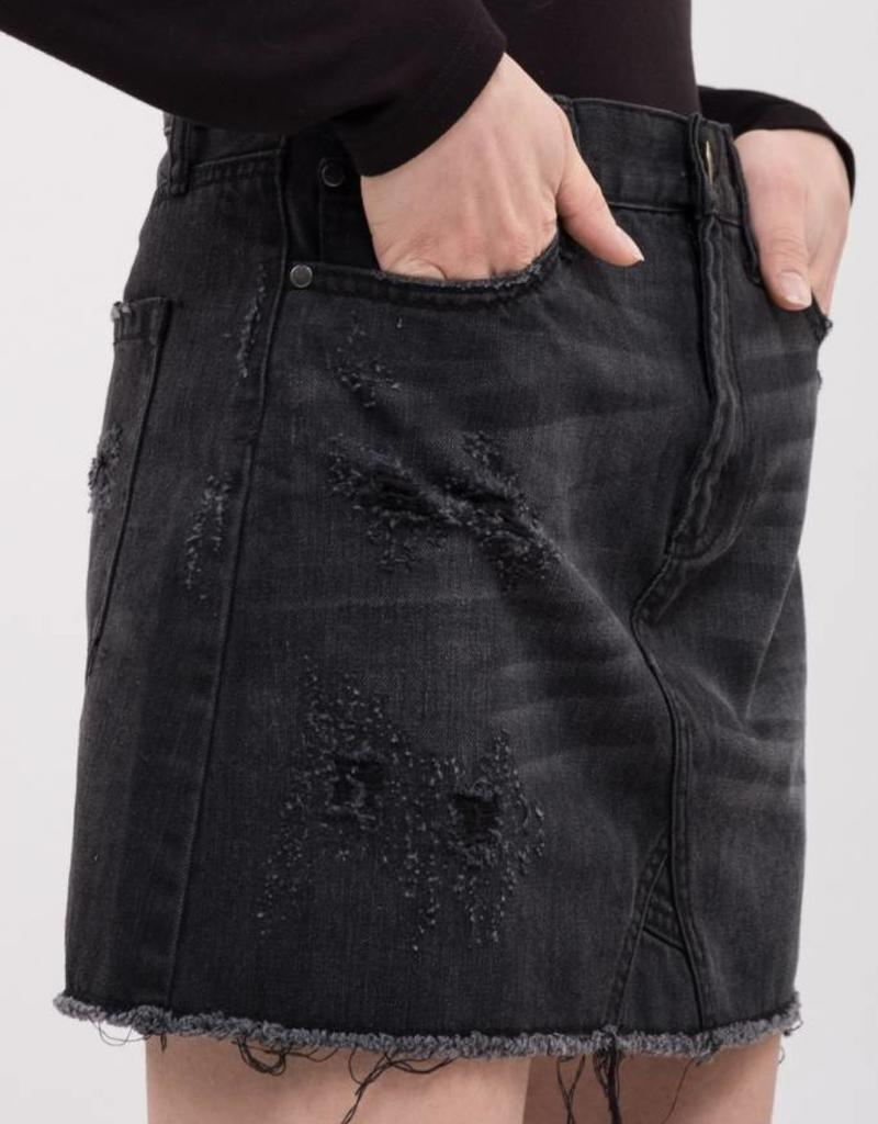 JOA Frayed Denim Skirt Black