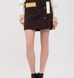 JOA Suede Snap Skirt Chocolate