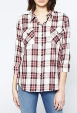 Sanctuary Boyfriend Shirt Plaid Burgandy
