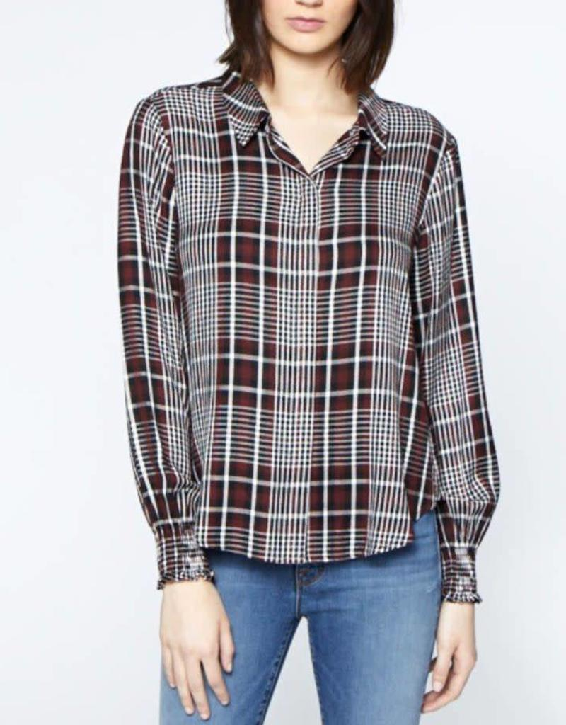Sanctuary Riverside Smocked Shirt Plaid Burgandy