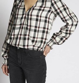 Sanctuary Wrap Plaid Top Champagne
