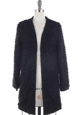 Skies are Blue Open Knit Cardigan Black