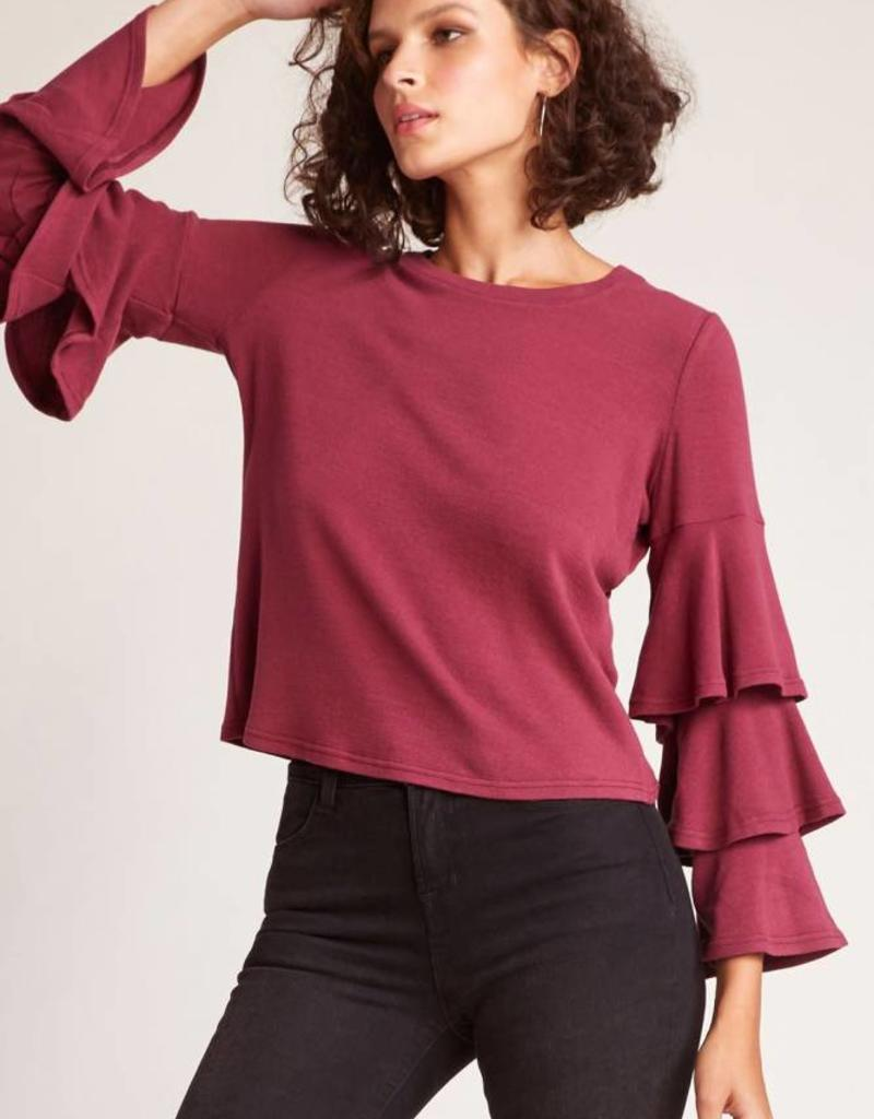 Jack Wax Poetic Ruffle Sleeve Top Burgandy