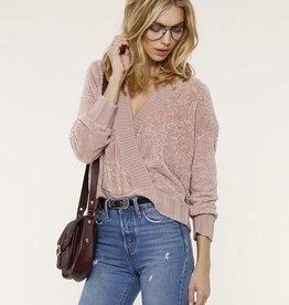 Heartloom Chenille Cross Front Sweater Rose