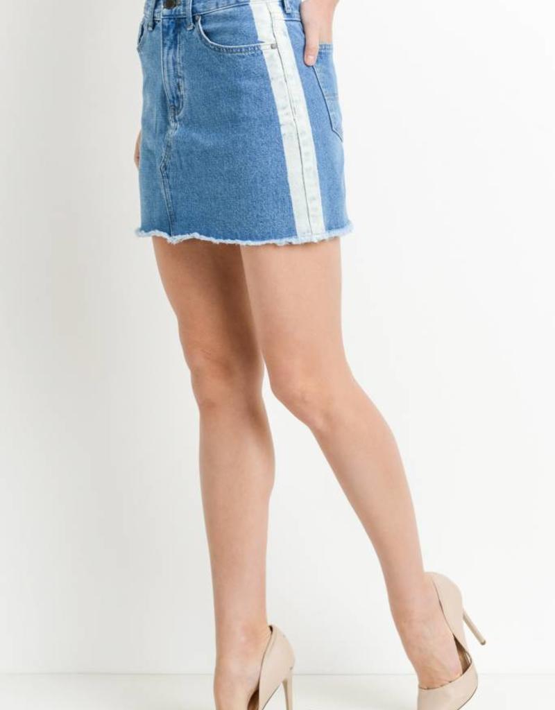 Just Black Denim Stripe Side Denim Skirt