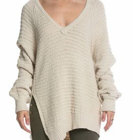 Elan V Neck Raglan Stitch Sweater