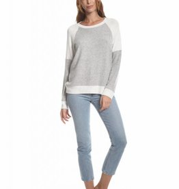 Olive and Oak Peta Long Sleeve Top Grey/Ivory