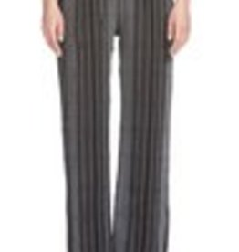 Elan Stripe Elastic Waist Pants Black/White