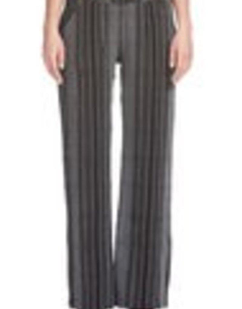 Elan Stripe Elastic Waist Pants Black/White
