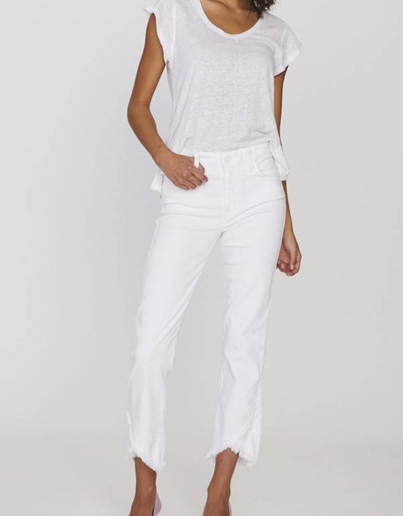 Sanctuary Modern Straight Piece Crop White Jean