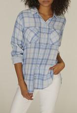 Sanctuary Boyfriend Shirt LS Blue Plaid