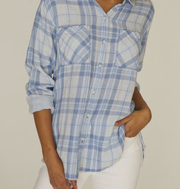 Sanctuary Boyfriend Shirt LS Blue Plaid
