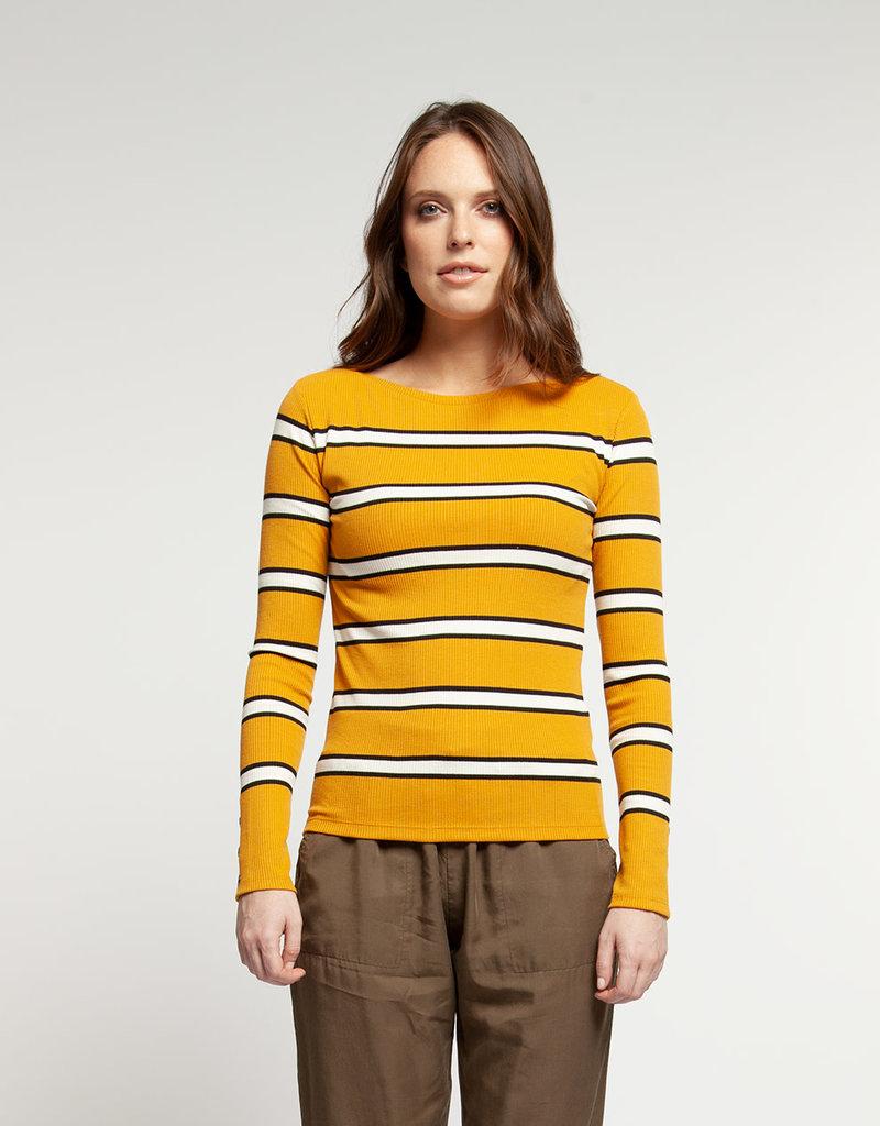 Stripe LS Top Gold/Black