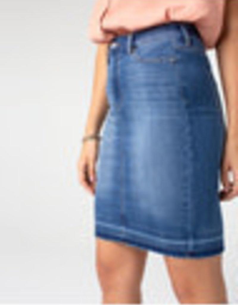 Liverpool Denim Pencil Skirt Release Hem