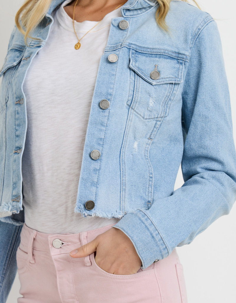 Just Black Denim Frayed Cropped Denim Jacket