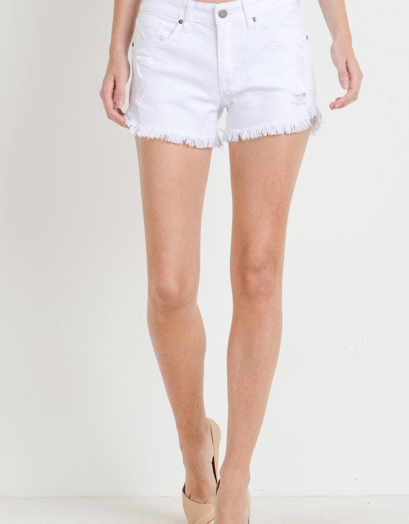 Just Black Denim Frayed Hem Shorts