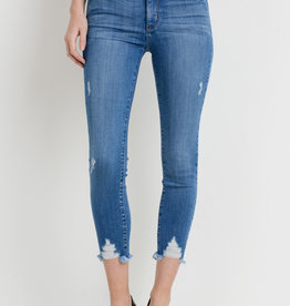 Just Black Denim Skinny w/ Hem Destruction L. Blue