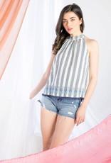 THML Clothing High Neck Stripe Tank Cream