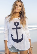 Wooden Ships Anchor Sweater White