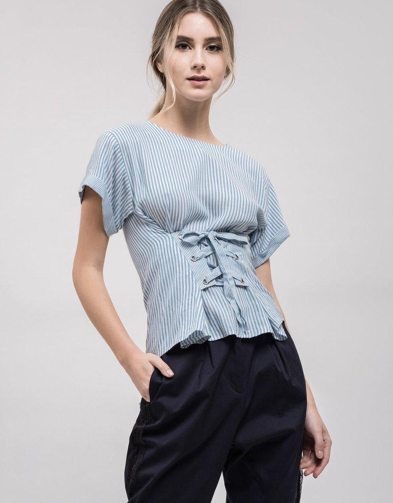 JOA Corset Stripe Top