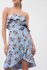 JOA Ruffle Top Floral Dress Blue