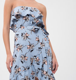 JOA Ruffle Top Floral Dress Blue