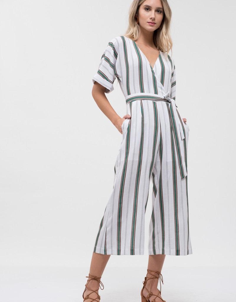 Dolman Sleeve Stripe Jumpsuit