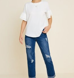 Hayden Pleated Teir Sleeve Top Off White