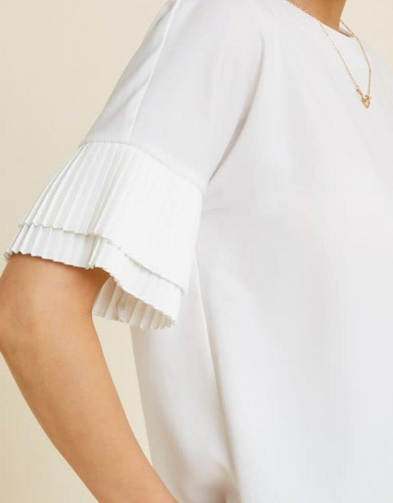 Hayden Pleated Teir Sleeve Top Off White